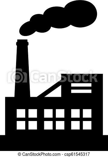 矢量, 黑色半面畫像, 工廠, 圖象 - csp61545317