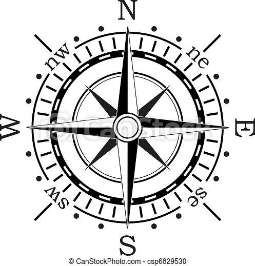 矢量, 黑色, 指南針 - csp6829530