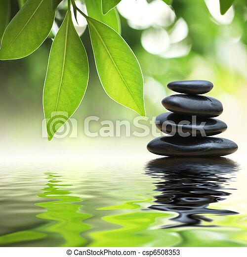 石頭, 水, 金字塔, 禪, 表面 - csp6508353