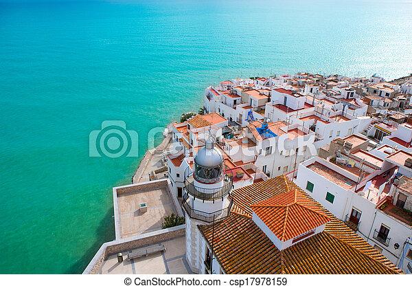 空中, peniscola, castellon, 村莊, 海灘, 西班牙, 看法 - csp17978159