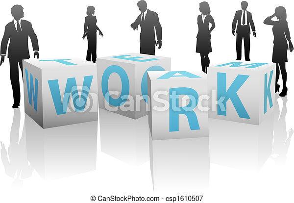 立方, 黑色半面畫像, 人們, 平原, 工作組, 白色 - csp1610507