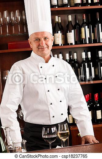 站立, 酒吧, 餐館, 廚師, 充滿信心, 烹調, 酒 - csp18237765