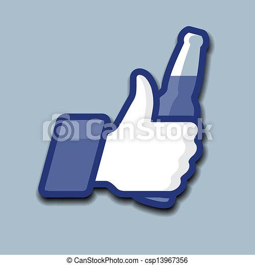 符號, 向上, 啤酒瓶子, like/thumbs, 圖象 - csp13967356
