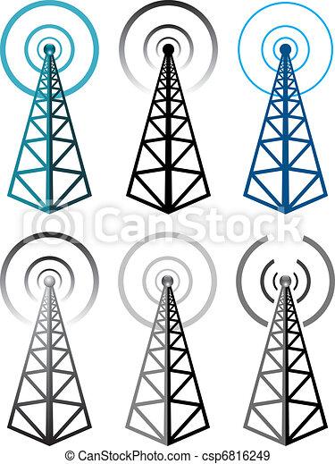 符號, 塔, 集合, 收音机, 矢量 - csp6816249
