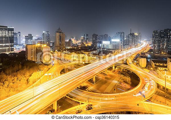 等級, 城市, 夜晚, 分開, 橋梁 - csp36140315