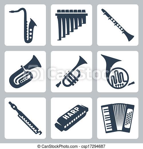 管子, 口琴, 手風琴, instruments:, 矢量, 音樂 - csp17294687