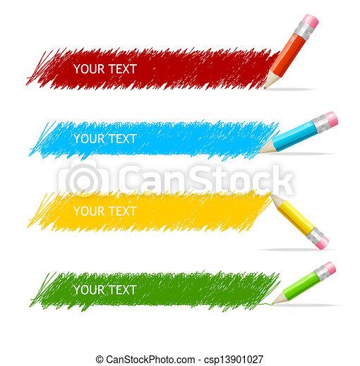 箱子, 鉛筆, 矢量, 鮮艷, 正文 - csp13901027