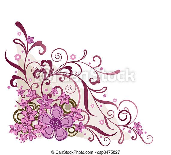 粉紅色, 植物, 角落, 設計元素 - csp3475827