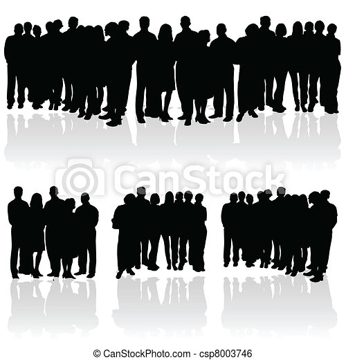 組, 黑色半面畫像, 人們 - csp8003746
