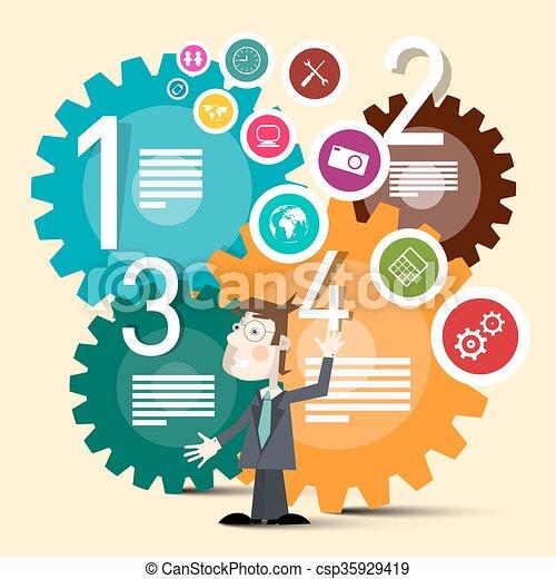 網路商業, 鮮艷, 圖象, 嵌齒輪, 矢量, 環繞, 人 - csp35929419