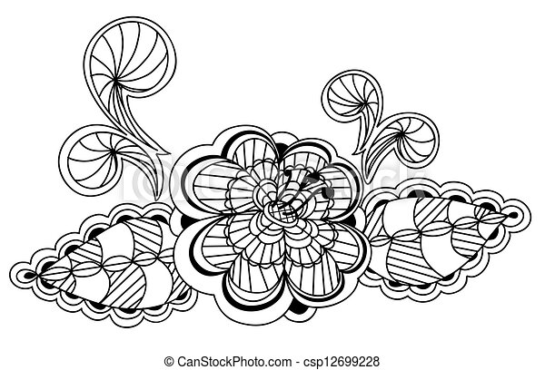 美麗, 圖案, 元素, 設計, 植物, 黑色, 白色 - csp12699228