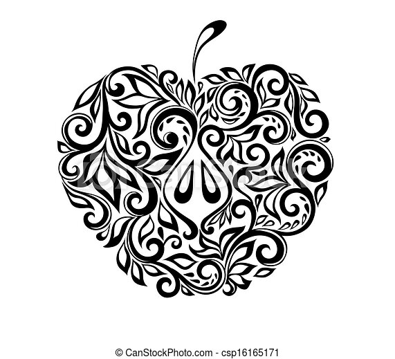 美麗, 蘋果, pattern., 黑色, 植物, 白色, 裝飾 - csp16165171