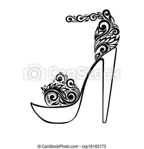 美麗, 裝飾品, 涼鞋, 黑色, 植物, 裝飾, 白色 - csp16165173