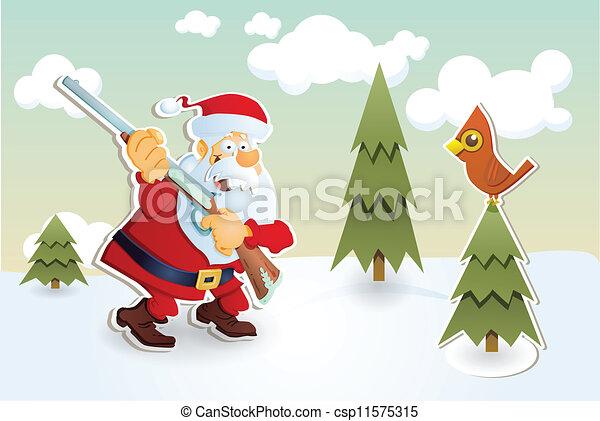 聖誕老人, hunter. - csp11575315