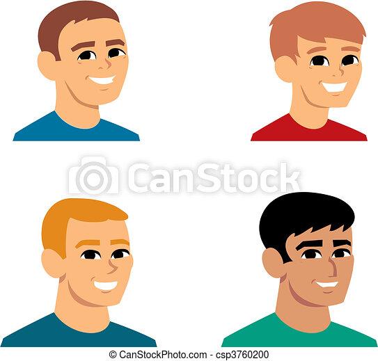 肖像, avatar, 卡通, 插圖 - csp3760200