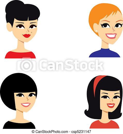 肖像, avatar, 婦女, 系列 - csp5231147