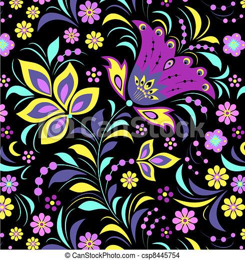 背景, 花, 黑色, 鮮艷 - csp8445754