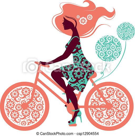 自行車, 女孩, 黑色半面畫像, 美麗 - csp12904554