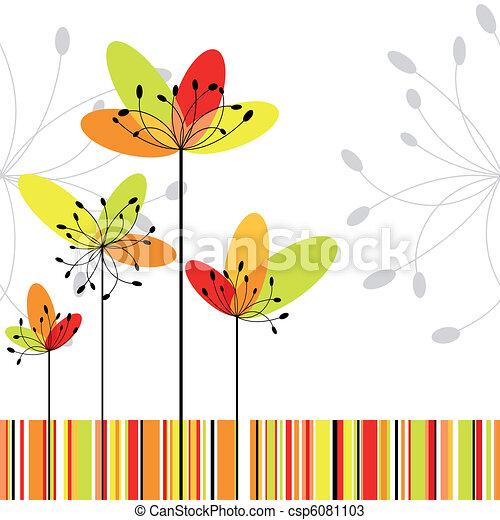 花, 鮮艷, 摘要, 春天, 條紋, 背景 - csp6081103