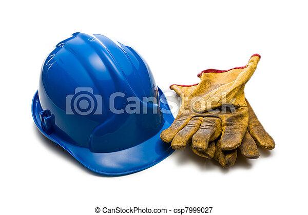 藍色, 皮革, 手套, 工作, hardhat - csp7999027