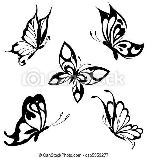 蝴蝶, 集合, 黑色, 白色, ta - csp5353277