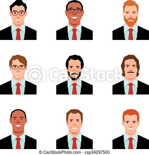 衣服, 風格, 人, 插圖, avatars, 集合, 肖像, 矢量, 套間 - csp34297500
