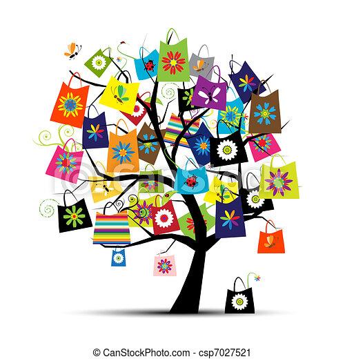 袋子, 設計, 購物, 你, 樹 - csp7027521