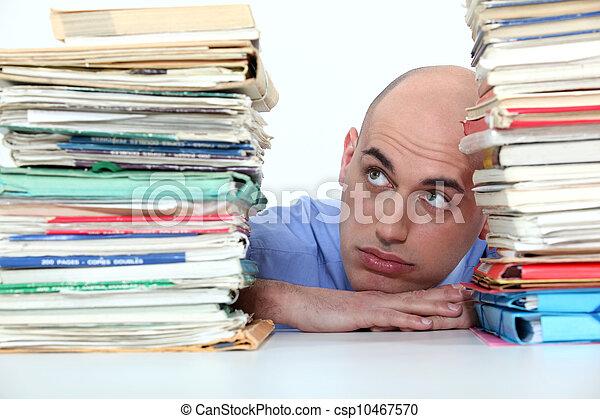 被沉沒, 工作, 工人, 辦公室, 禿頭 - csp10467570