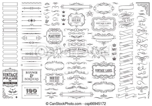 裝飾, 巨大, 集合, 彙整, 矢量, 設計, 或者, 元素 - csp66945172