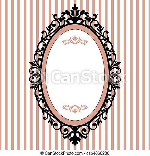 裝飾, 橢圓的框架, 葡萄酒 - csp4866286
