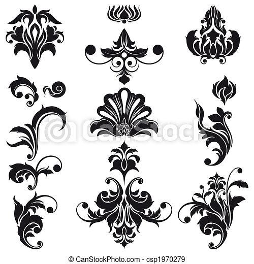 裝飾, 花的要素, 設計 - csp1970279