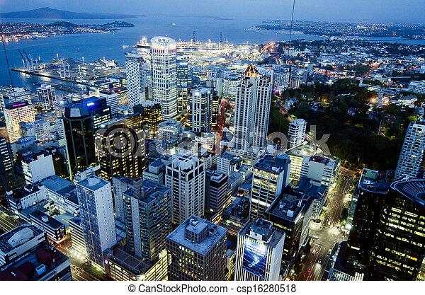 西蘭島, cbd, 奧克蘭, -, nz, 夜晚, 都市風景, 新 - csp16280518
