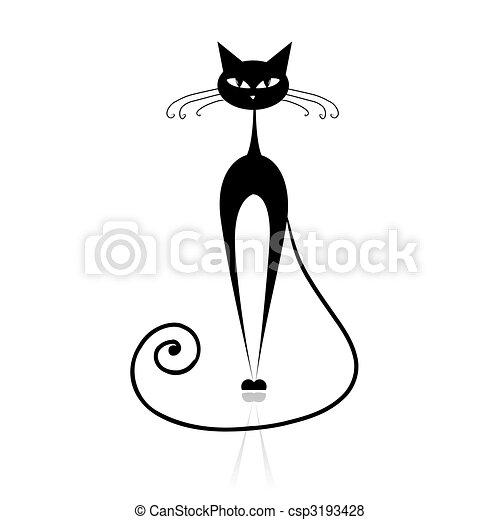 貓, 黑色, 你, 設計, 黑色半面畫像 - csp3193428