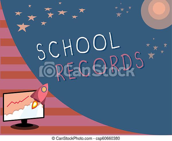 資訊, 學校, records., 事務, 相片, 顯示, 大約, 寫, 筆記, 孩子, showcasing, kept, 傳記 - csp60660380