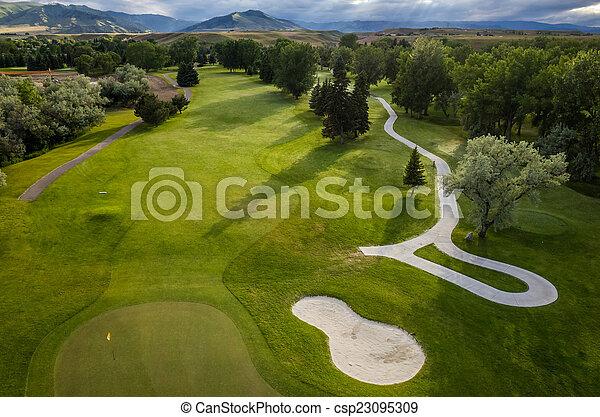 路線, 空中, 高爾夫球 - csp23095309