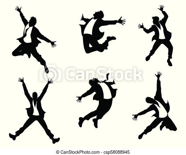 跳躍, 黑色半面畫像, 人 - csp58088945