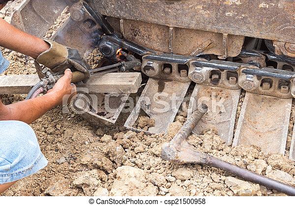 輪子, 推土机, 固定, 火炬, 气体, 切 - csp21500958