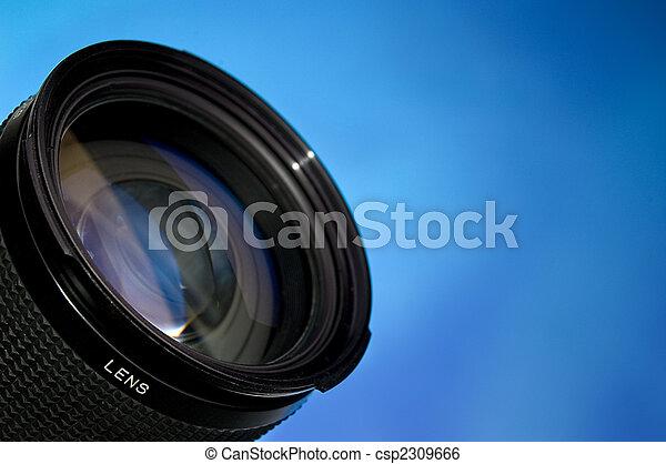 透鏡, 藍色, 攝影, 在上方 - csp2309666