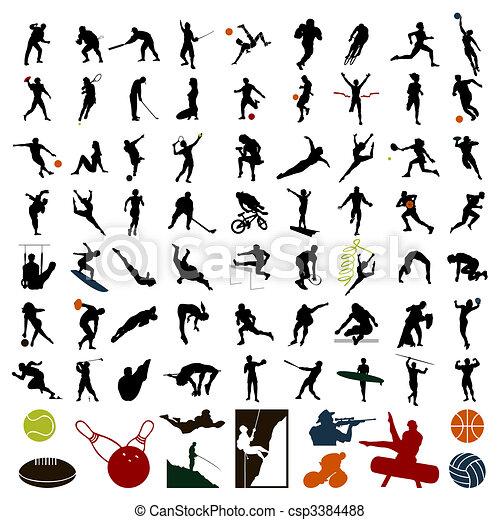 運動員, 插圖, colour., 黑色半面畫像, 矢量, 黑色 - csp3384488