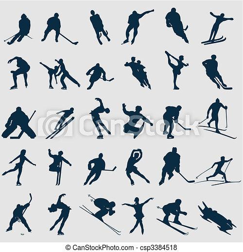 運動員, 插圖, colour., 黑色半面畫像, 矢量, 黑色 - csp3384518