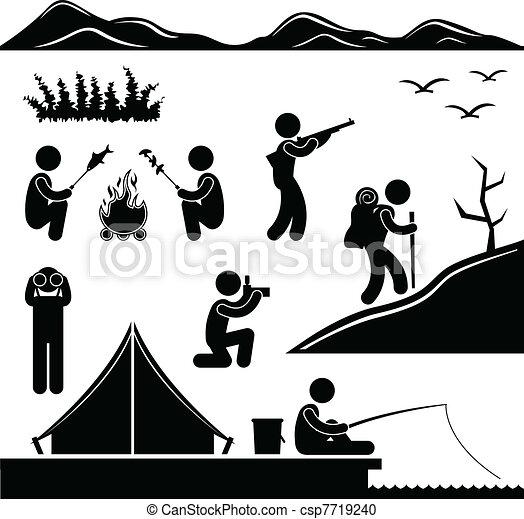 遠足, 營房, 叢林, 露營, 拉車 - csp7719240