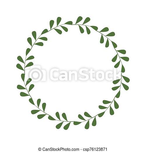 邀請, 設計, 插圖, 末梢, leaves., 輪, 樣板, 綠色, 框架, 邊框, 最簡單派藝術家, laconic, greetings., 時髦, 標識語, 矢量, wreath., style. - csp76123871