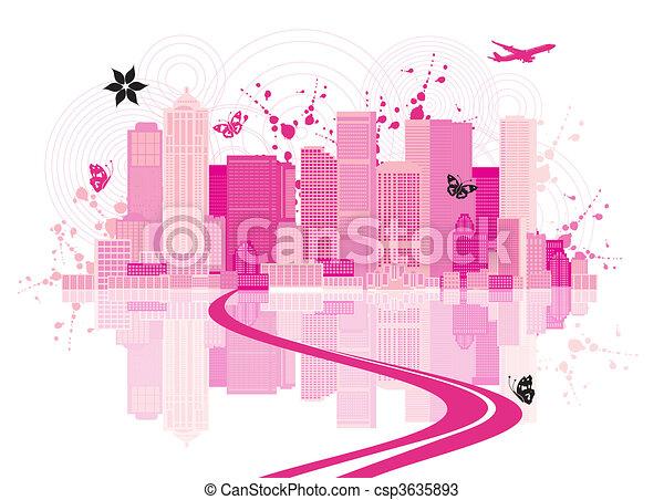 都市風景, 城市, 背景, 藝術 - csp3635893