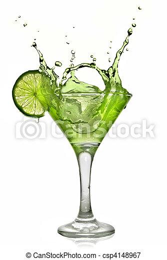 酒精, 雞尾酒, 被隔离, 飛濺, 綠色白色, 石灰 - csp4148967