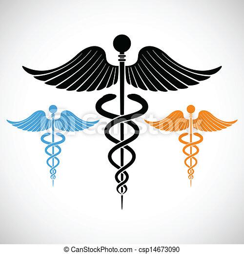 醫學, caduceus, 鮮艷, 簽署 - csp14673090