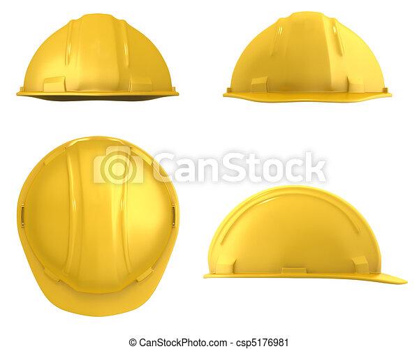 鋼盔, 見解, 被隔离, 黃色, 四, 建設 - csp5176981