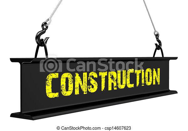 鋼, 橫樑, 舉起, slings. - csp14607623