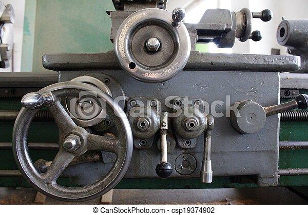 鋼, 車床, 老 - csp19374902