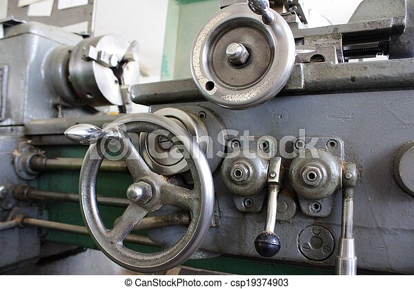 鋼, 車床, 老 - csp19374903