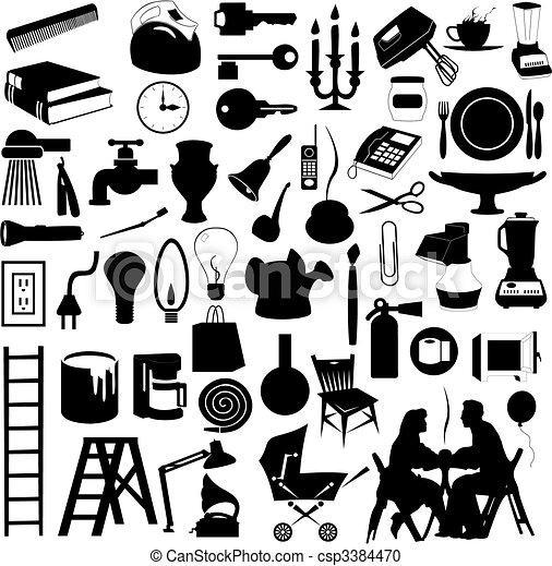 集合, 房子, 插圖, 黑色半面畫像, 矢量, subjects. - csp3384470